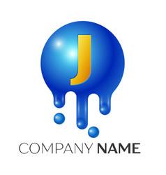 J letter splash logo blue dots and bubbles letter vector