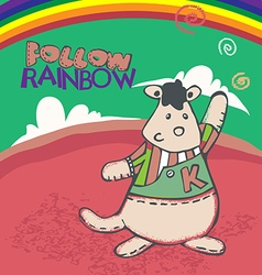 kangaroo follow rainbow vector image vector image