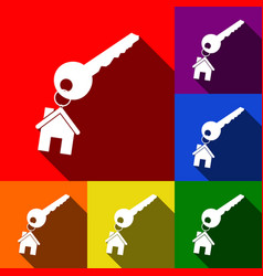 Key with keychain as an house sign set of vector