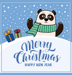 merry christmas greeting card with panda vector image vector image