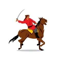 Mongolian warrior with saber on horseback vector