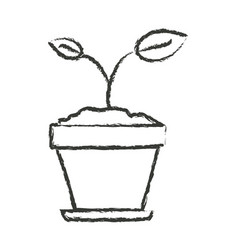 Monochrome blurred silhouette of small plant in vector