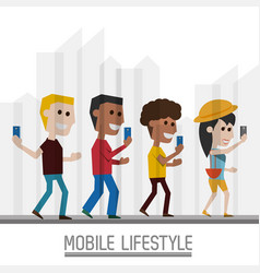 People with smartphone in the hand and lifestyle vector