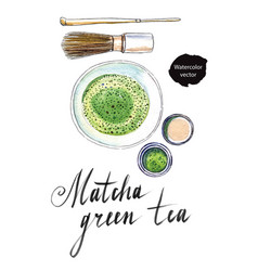 powdered japanese matcha green tea vector image vector image