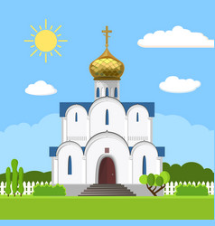 Russian orthodox church icon isolated on white vector