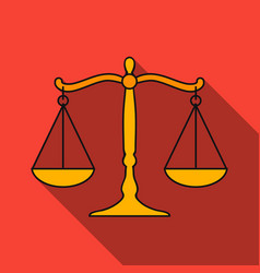 Scales of justice icon in flat style isolated on vector