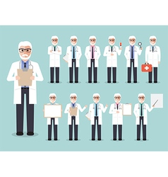 Senior doctor medical and hospital staff characte vector image vector image