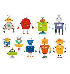 set of cute vintage cartoon robots vector image vector image