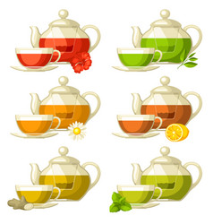 Types of tea set of glass cups and kettles with vector