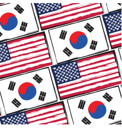 Usa and south korea flags or banner vector