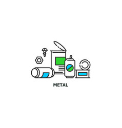 waste metal recycle concept icon in line design vector image vector image
