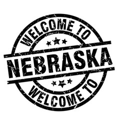 Welcome to nebraska black stamp vector