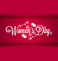 Women day vintage lettering banner background vector