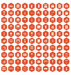 100 interior icons hexagon orange vector