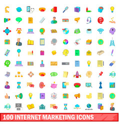 100 internet marketing icons set cartoon style vector