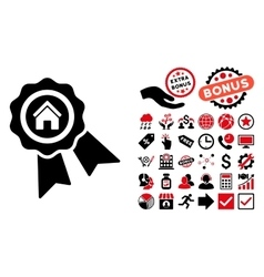Realty award flat icon with bonus vector