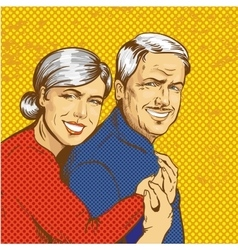 Happy mature couple in pop vector