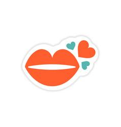 Paper sticker on white background kiss heart vector