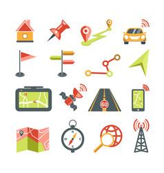 Navigation icons set for car navigator map vector