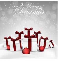 Set of christmas decorations balls and gift box vector