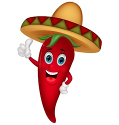 Chili cartoon with sombrero hat vector