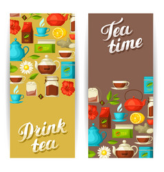 Banners with tea and accessories packs and vector