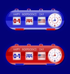 4th of july with flap clocks and number counter vector