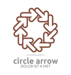 Logo circle arrow brown design symbol icon vector