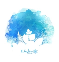 Blue watercolor stain with white foliage vector