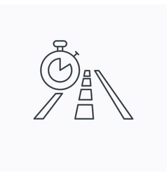 Travel time icon road with timer sign vector