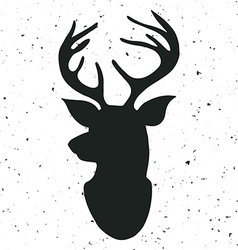 Hand drawn vintage label with a reindeer vector