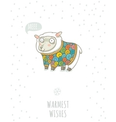 Winter card with cute sheep in knitted sweater vector