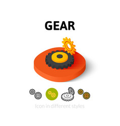 Gear icon in different style vector