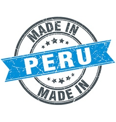 Made in peru blue round vintage stamp vector