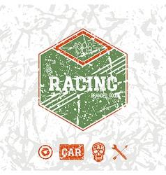 Car racing hexagonal emblem vector image