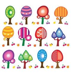 cartoon fruit trees vector image