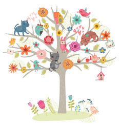 Cats and tree vector