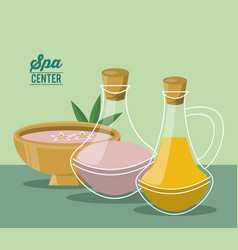 Color poster of spa center with bowl and set of vector