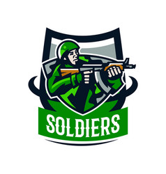 colorful logo badge emblem of a soldier shooting vector image vector image