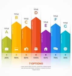 Column chart infographic template 7 options vector