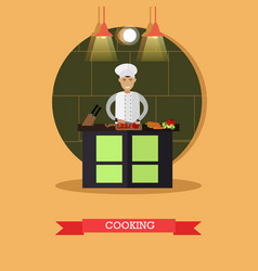 cooking in flat style vector image vector image