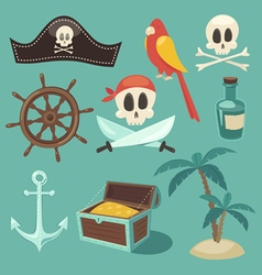 Cute pirate set objects collection vector