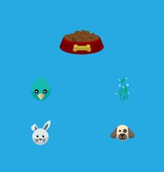 flat icon animal set of dog food bunny sparrow vector image vector image