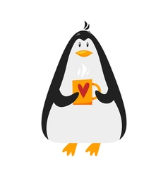 flat style of penguin with cup of coffee vector image