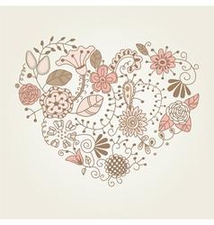 floral vintage heart shape vector image