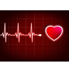 Heart cardiogram with shadow on it deep red eps 8 vector