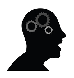 Human head with gears vector