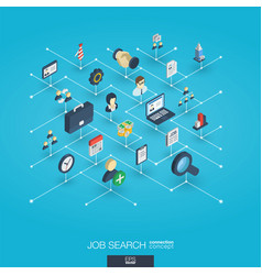 Job search integrated 3d web icons digital vector