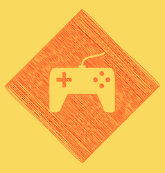 Joystick simple sign red scribble icon vector