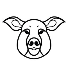 linear stylized drawing of pig swine vector image